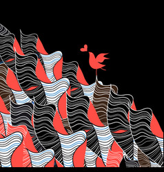 bird in love and abstraction vector image