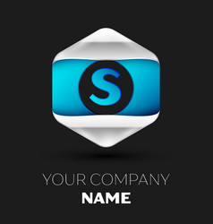 blue letter s logo in the silver-blue hexagonal vector image