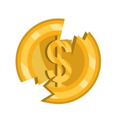 Broken coin money stock market crash isolated icon vector