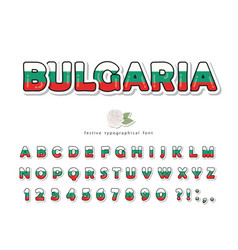 bulgaria cartoon font bulgarian national flag vector image