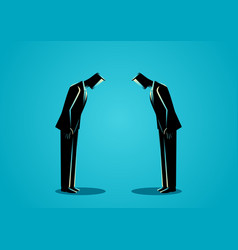 Businessmen bowing to each other vector