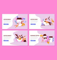 caffeine flat horizontal backgrounds vector image