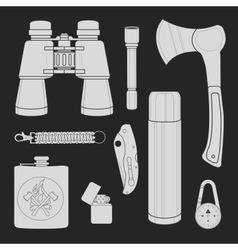 Camping equipment set Chalk vector