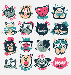 cartoon cat heads cute animal vector image