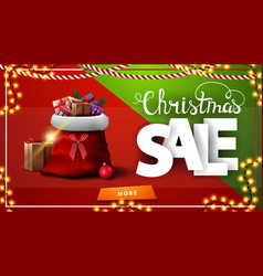 christmas sale red and green horizontal discount vector image