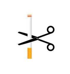 Cigarette with scisors color vector