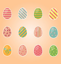 color easter egg set for spring holiday vector image