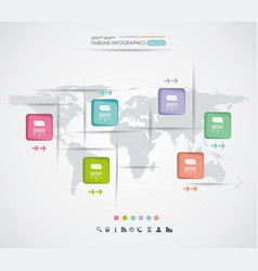 colorful world map with color stickers vector image