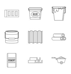 Construction material icon set outline style vector
