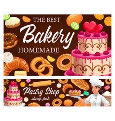desserts cakes and pastry bakery shop vector image