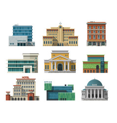 Different city public buildings houses set flat vector