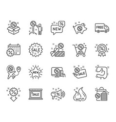 discount line icons set of shopping sale and new vector image