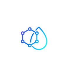 Drop with nanoparticles icon line vector