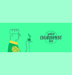 Environment day banner happy man with plant vector