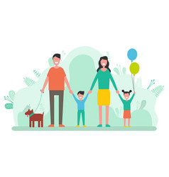 Family mother and father children and pet dog vector