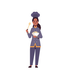 female professional chef cook holding plate with vector image