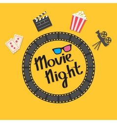 Film strip round circle frame 3D glasses popcorn vector image