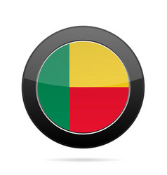 flag of benin shiny black round button vector image