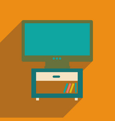 Flat web icon with long shadow plasma tv vector