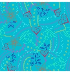 Flowers and hearts pattern outline colorful vector image