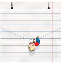 Fun boy hanging on the rope childs notebook page vector