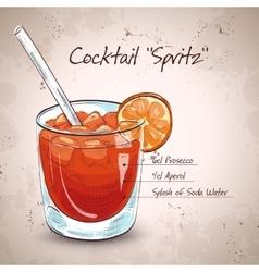 Glass spritz aperitif aperol cocktail vector