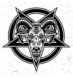 Goat head and pentagram star vector