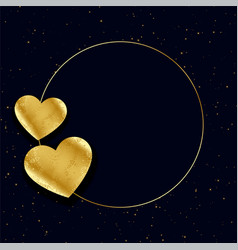 Golden hearts frame with text space background vector