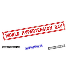 Grunge world hypertension day scratched rectangle vector