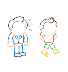 hand-drawn cartoon of businessman looking and vector image