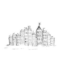 Hand drawn cityscape rough vector