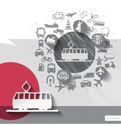 Hand drawn tram icons with icons background vector image