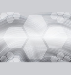 Hexagon and curves gray abstract background vector