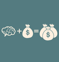 Idea is money concept brain money more money vector