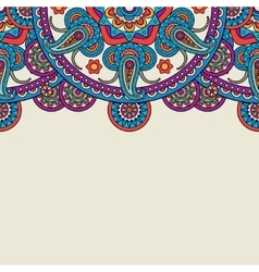 Indian paisley doodle upper border vector image