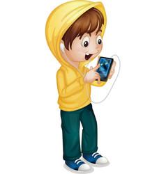 Kid using tablet vector