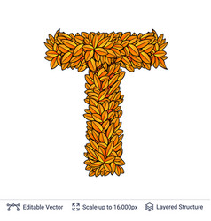 Letter t sign of autumn leaves vector