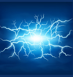 Lightning storm in blue sky vector