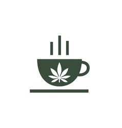 logo of coffee shop leaf of cannabis on cup vector image
