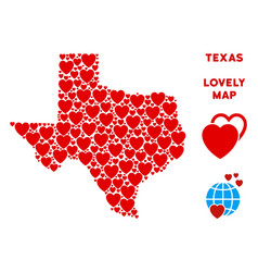 Lovely texas map mosaic of hearts vector