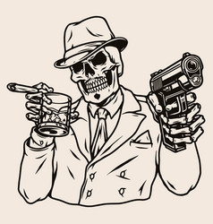 Mafia boss skeleton in suit vector