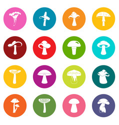 Mushroom icons many colors set vector