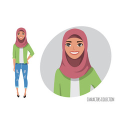 Muslim women character is happy and smiling vector
