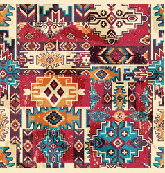 Native american traditional fabric patchwork vector