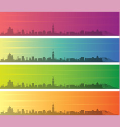 Nice multiple color gradient skyline banner vector