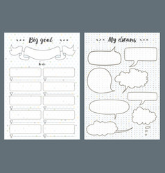 notebook pages template dreams and goal vector image