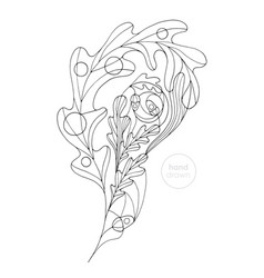 oak leaf coloring page hand drawn abstract vector image