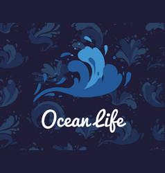 Ocean life poster with water splash element vector