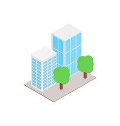 Office buildings with trees icon vector