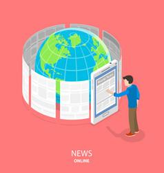 online news flat isometric concept vector image